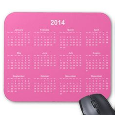 Hot Pink and White 2014 Calendar Mousepads