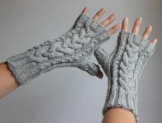 Gray Cable Knit Fingerless Gloves Wool by TinkerCreekHandknits