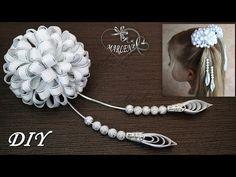 Elegant bows from narrow ribbons. Satin Ribbon Flowers, Ribbon Art, Diy Ribbon, Ribbon Crafts, Fabric Flowers, Fabric Headband Tutorial, Hair Bow Tutorial, Fabric Headbands, Ribbon Hair Clips