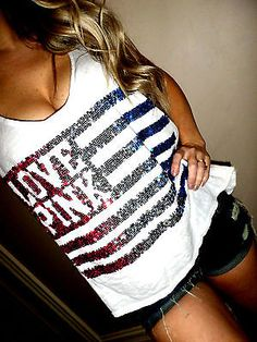 Pink by Victoria's Secret white sequin USA flag hi/lo muscle tank top tee Large