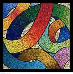 A Walk on the Wild Side (Jacqueline Iskander) mosaic, colorful tiles abstract art Mosaic Tile Art, Mosaic Artwork, Mosaic Crafts, Mosaic Projects, Mosaic Glass, Mosaic Designs, Mosaic Patterns, Mosaic Pictures, Mosaic Madness