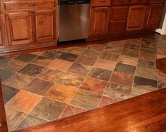 Traditional Kitchen Tile To Wood Floor Transition Vinyl Hardwood Flooring, Hardwood Floor Colors, Slate Flooring, Flooring Ideas, Patio Flooring, Laminate Flooring, Entryway Flooring, Living Room Flooring, Kitchen Tiles
