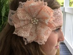 Peach Ivory/ Victorian Lace/ Bridal Hair by DolledandDazzled