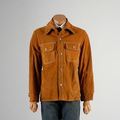 1970s Leather Shirt Jacket. Split Hide Snap Front Hippie Boho Suede Shirt Jacket. Mens style, mens fashion, vintage menswear, vintage mens style, vintage fashion