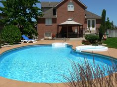 Swiming Pools Backyard Pools With Wooden Gazebo Also Blue Pool Loungers And Wooden Patio Chair Besides Wooden Patio Table  Hand Rails  Above Ground Steps  Wooden Fence  Above Ground Liners  In Ground Liners  Pool Pain   The Advantages of Having Backyard Pools