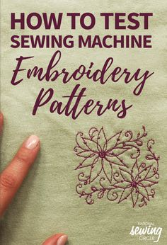 Testing Sewing Machine Embroidery Patterns Old T-shirts make a great piece of fabric for testing out your sewing machine stitches. In this video, Leah Rybeck demonstrates a quick and easy trick for te Sewing Machine Stitches, Machine Embroidery Projects, Machine Embroidery Applique, Embroidery Stitches, Hand Embroidery, Embroidery Ideas, Brother Embroidery Machine, Babylock Embroidery Machine, Viking Sewing Machine