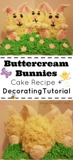 Buttercream Bunny Cake Recipe   Decorating Tutorial | This cute buttercream bunny cake is perfect for eater (or spring!) with a recipe and decorating tutorial and it is easier than you think!