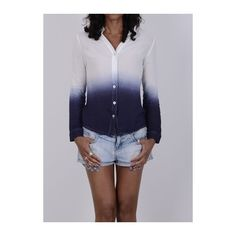 Long Sleeve Blue Loose Shirt ($24) ❤ liked on Polyvore featuring tops, blue, long-sleeve shirt, blue shirt, loose long sleeve shirt, blue print top and print long sleeve shirt