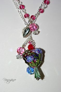 Sweetheart 1 Heart Necklace lampwork and more by nancyfance