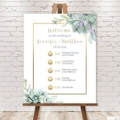 Wedding Timeline Sign / Wedding Itinerary Agenda Icons / | Etsy Wedding Reception Schedule, Wedding Ceremony, Watercolor Succulents, Forest Design, Wedding Timeline, Custom Fonts, Guest Book Alternatives, Wedding Guest Book, Shades Of Green