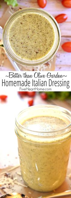 """Better than Olive Garden"" Homemade Italian Dressing ~ this all-natural, zesty s. ""Better than Olive Garden"" Homemade Italian Dressing ~ this all-natural, zesty salad dressing is economical, easy to Homemade Italian Dressing, Sweet Italian Dressing Recipe, Low Sodium Italian Dressing Recipe, Good Seasons Italian Dressing Mix Recipe, Low Carb Dressing, Salad Dressing Recipes, Italian Salad Recipes, Homemade Salad Dressings, Salad Dressing Homemade"
