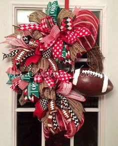 Deco mesh funky bow arkansas razorback football grapevine wreath
