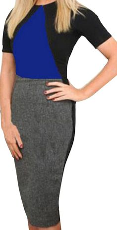 MLG Women's Sexy Color Conjoin Back Zipper Party Pencil Dress >>> Continue to the product at the image link. (This is an affiliate link) #ClubbingDress