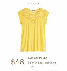 Stitch Fix: Loveappella Kennah Lace Inset Knit Top - I love the style of this top! Lace, knit, cap sleeves <3 Not sure about yellow though...