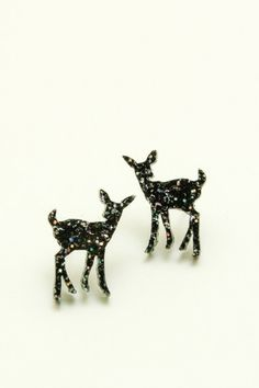 Rainbow Glitter Deer Earrings