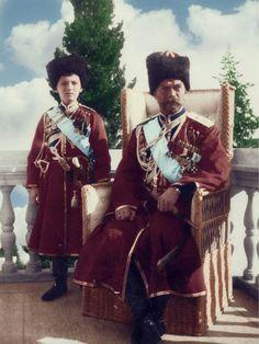 Tsar Nicholas ll of Russia with his son Tsarevich Alexei Nikolaevich Romanov of Russia.A♥W