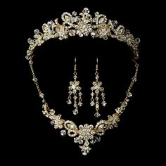 Exquisite Gold Plated Crystal Tiara and Jewelry Set for your quinceanera! Description from pinterest.com. I searched for this on bing.com/images