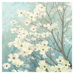 """Blue and white canvas print with a floral motif.   Product: Wall artConstruction Material: CanvasFeatures: Floral motifDimensions: 16"""" H x 16"""" W x 1.5"""" D"""
