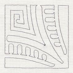 Mola Geometric Quilting Corner  - continuous line. Could be used for quilting pattern or embroidery