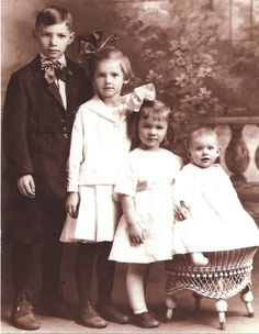 "1924 Siblings Postcard. From a vintage photograph. 4""x 6"". Professionally printed in the USA."