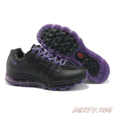Nike air max 95 360 black and purple mens shoes for sale