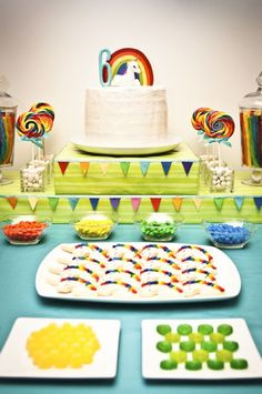 Unicorns and Rainbows Party: I want this for my 34th birthday. All of it. Plus some alcohol. I actually know some people who make rainbow jello shots. I'll have to get them to make me some for this. Also, must get the Unicorn hat from Glee before this party. Oh, and go to pastry school and learn sugar art so I can make my own unicorn sugar show piece.
