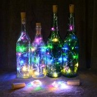 String Lights, Fairy Lights Led Light Wine Bottle Copper Wire String Lights Bulb Cork Party Home Decor Gifts & Garden Empty Wine Bottles, Wine Bottle Corks, Lighted Wine Bottles, Wine Bottle Stoppers, Bottle Lights, Mini Bottles, Wine Bottle Crafts, Led Bottle Light, Luz Led Diy