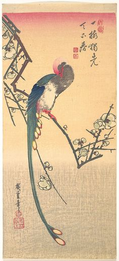 Bird on a Plum Branch by Utagawa Hiroshige (1797–1858). Period: Edo period (1615–1868) Culture: Japan Medium: Polychrome woodblock print; ink and color on paper