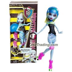 "Mattel Year 2012 Monster High ""Skultimate Roller Maze"" Series 11 Inch Doll Set - ABBEY BOMINABLE ""Daughter of The Yeti"" with Removable Helmet, Roller Skate and Doll Stand"