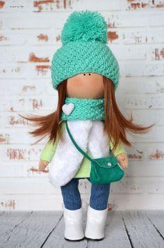 Green doll Textile doll Rag doll Baby doll di AnnKirillartPlace