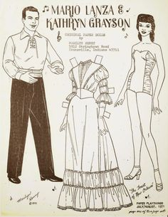 KATHRYN GRAYSON and Mario Lanza Original Paper Dolls by Marilyn Henry from Paper Playthings October 1971 <> 1 of 2