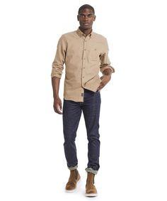 2ff5fea33f1 Brushed Cotton Cashmere Twill Shirt in Camel. Pantalon Vaquero ...