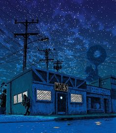 Simpsons Springfield Locales Imagined Moodily At Night: Moe's