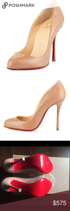 "Christian Louboutin Merci Allen Patent 100mm Nude Christian Louboutin Merci Allen Patent 100mm Red Sole Pump, Nude. Like new! Christian Louboutin patent leather pump. 4"" covered heel. Almond toe. Low-dipped collar. Padded footbed. Signature red leather sole. ""Merci Allen"" is made in Italy. Christian Louboutin Shoes Heels"
