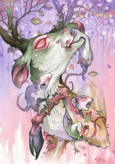 """Colorful, Grotesque Creature Mash-Ups by Tom Strom Tom Strom is an artist based in Deventer, Netherlands, who paints and tattoos colorful """"creature mash-ups."""" Among his inspirations are anime and. Creepy Art, Weird Art, Dark Art Drawings, Easy Drawings, Horror, Digital Painting Tutorials, Goth Art, Pastel Art, Magazine Art"""