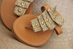 Sale 10 Snake beige & gold greek leather sandals by Beegeo on Etsy, €56.00