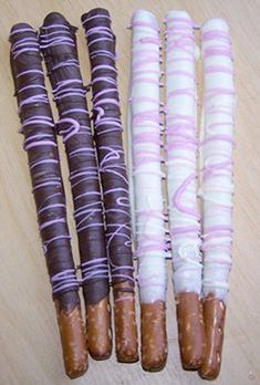 Chocolate Covered Pretzel Rods with Purple by KnowAnOrdinaryMom