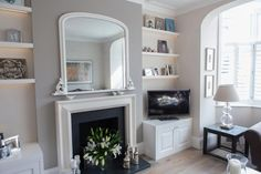 Put shelves on either side of fireplace Victorian Living Room, Cottage Living Rooms, Living Room Grey, Living Room Decor, Grey Fireplace, Fireplace Hearth, Fireplaces, Phoenix Rising, Storage Area