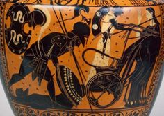 Achilles engages Hector in a man-to-man fight and kills him. Achilles drags the body behind his chariot before agreeing to return the body to Ancient Greek Art, Ancient Greece, Roman Artifacts, Roman Era, Black Figure, Minoan, Achilles, Bronze Age, Roman Empire