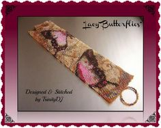 PB1C/4 - Lacy Butterflies - 2 Drop Peyote Stitch Cuff/Bracelet - One Of A Kind Bracelet