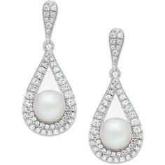 Cultured Freshwater Pearl (5-1/2mm) and Diamond (1/2 ct. t.w.) Drop... (925 CAD) ❤ liked on Polyvore featuring jewelry, earrings, white gold, diamond drop earrings, white gold earrings, white gold diamond earrings, diamond jewelry and teardrop earrings