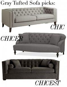 gray tufted sofa picks