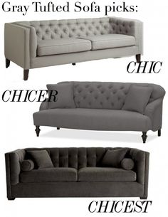 gray tufted sofa picks