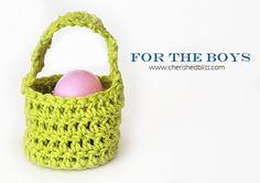 For the boys - Mini Crochet Easter Baskets tutorial via cherishedbliss.com #Easter #crochet