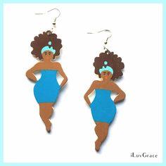 Wooden Earrings ~ Black Woman in Blue Dress ~ #Unbranded #DropDangle Wooden Earrings, Silver Drop Earrings, Round Earrings, Silver Wedding Jewelry, Pretty Roses, Fashion Painting, African Jewelry, Blue Opal, African Women