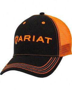 Ariat Rumblin Mesh Cap Ariat logo embroidery featured on front Black front with Orange mesh on back Traditional baseball cap styling Vented eyelits on hat crown Adjustable velcro back closure Color: Black/Orange Camo Hats, Cowgirl Hats, Mens White Hat, Ariat Clothing, Boho Clothing, Sun Protection Hat, Hat For Man, Mesh Cap, Leather Hats