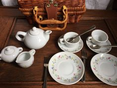 Porcelain  toy tea set  with picnic basket by HollyWouldFind on Etsy