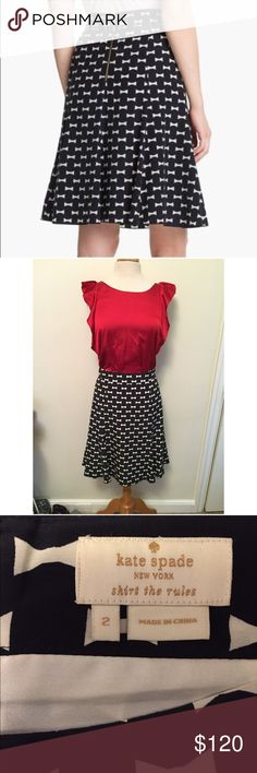 Kate Spade ♠️ New York bow tie flirts skirt Gorgeous Kate spade skirt! I have only worn this once! It's very comfortable and a piece you will have forever- classic! Price is firm. No trades or low balling. kate spade Skirts