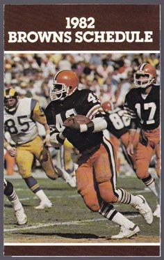 1982 CLEVELAND BROWNS OHIO LOTTERY FOOTBALL  POCKET SCHEDULE EX+NM FREE SHIPPING #SCHEDULE