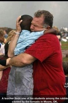 photo - Jim Routon hugs Hezekiah Darbon at Briarwood Elementary school after a tornado destroyed the school in south OKC Oklahoma City, OK, Monday, May Near SW and Hudson. By Paul Hellstern, The Oklahoman